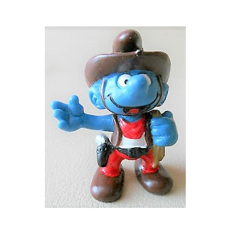 schtroumpf cowboy avec lasso marron 1981 Peyo Schleich Made in Portugal