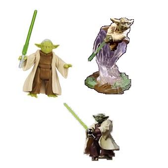 YODA 3 fig Star Wars 2004, 2005 et 2013 Hasbro LFL