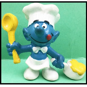 schtroumpf cuisinier avec louche et casserole Peyo Bully.