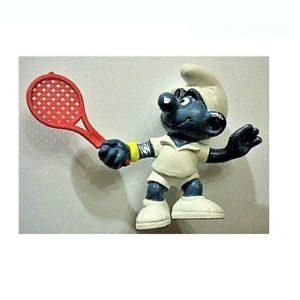 schtroumpf avec raquette de tennis Schleich 1979 PEYO W.Germany