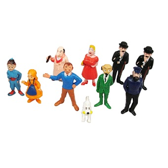 Tintin petites figurines Lot de 10 vintage très rare de 1973 Belvision ESSO