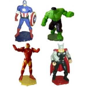 Avengers 4 figurines Marvel sur socle Hulk+Iron-Man+Thor+Captaine America.