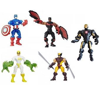 5 figurines super héros Mashers Marvel Hasbro