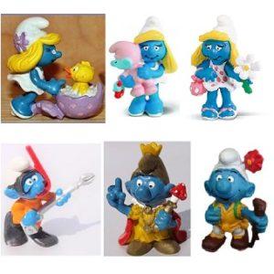 6 schtroumpfs et schtroumpfettes lot de figurines Peyo Schleich.