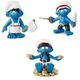3 schtroumpfs pirate 2013 Peyo Schleich Made in Germany