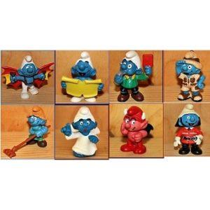 8 schtroumpfs lot de figurines Peyo Schleich.