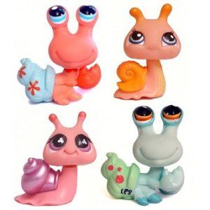 4 figurines Pet Shop escargot et Bernard L'Hermite (LPS) Hasbro
