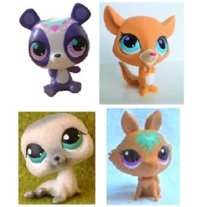 4 Pet Shop figurines (LPS) Hasbro.