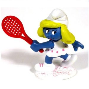 schtroumpfette tennis 1981 Peyo Schleich Made in PORTUGAL.