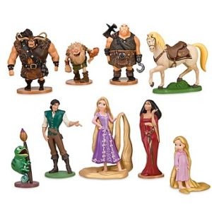 Raiponce Lot 9 figurines de collection Disney série complète.