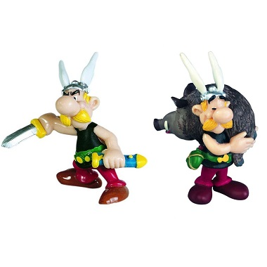Astérix avec sanglier+Astérix avec Glaive 2 Figurines PLASTOY 1997 et 2002