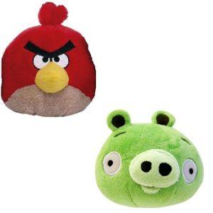 Angry Birds 2 Peluches oiseau rouge et cochon vert.