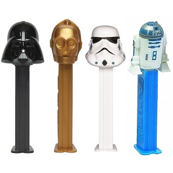 4 PEZ STAR WARS C3-PO R2-D2 Dark Vador et Stormtrooper.