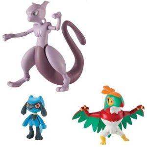 Mewtwo + Brutalibré + Riolu 3 Figurines Pokémon