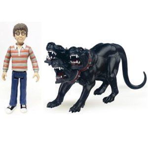 Harry Potter (avec pull rayé gris et rouge) + chien cerbère a 3 têtes 2003 papo