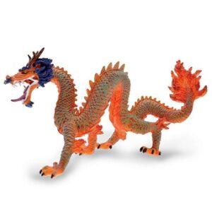 Le Dragon Chinois orange et bleu figurine Plastoy.