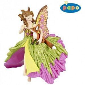 Elfe papillon Cavalière au Renard Figurine Papo.